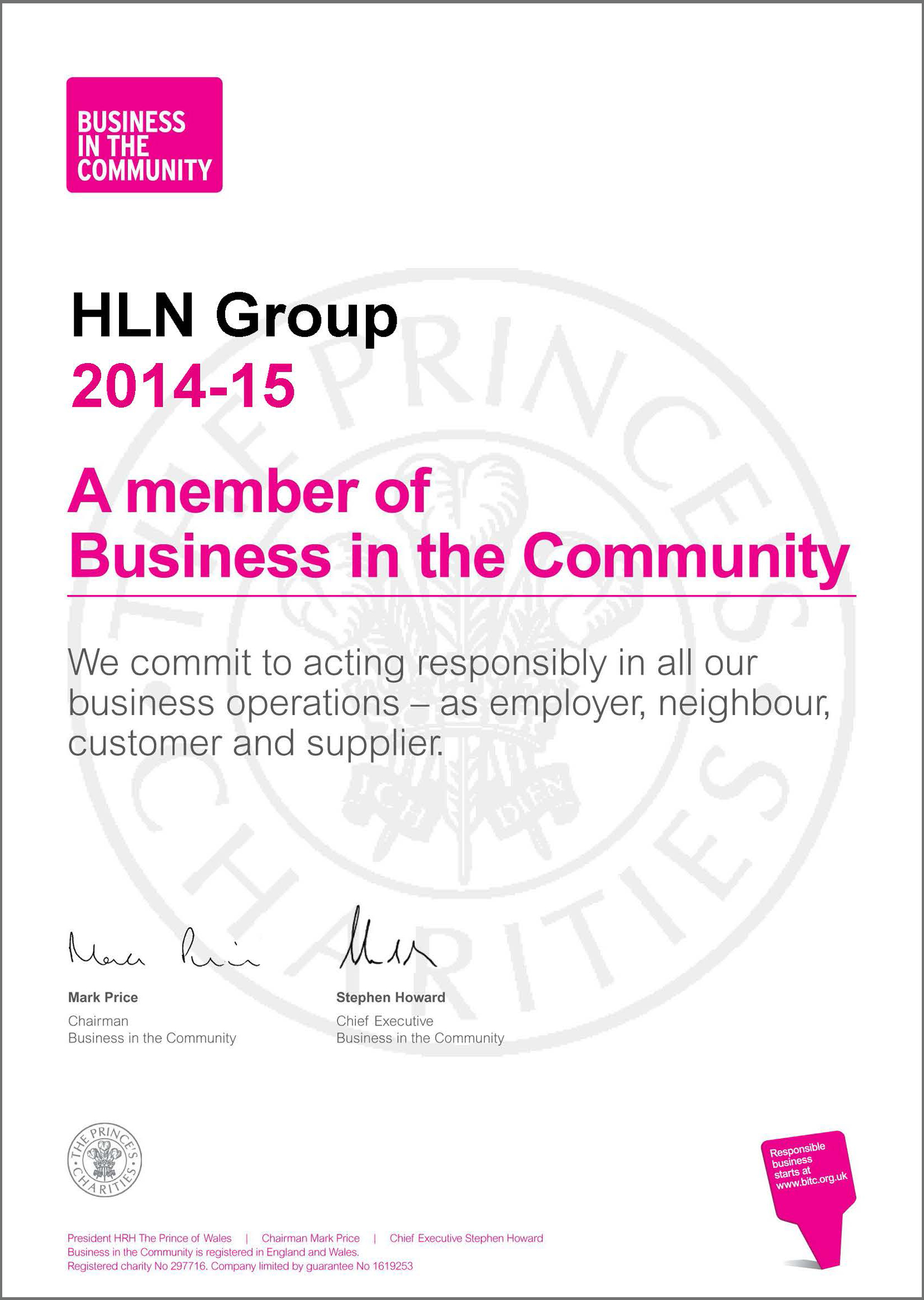 HLN Group - BITC Membership Certificate